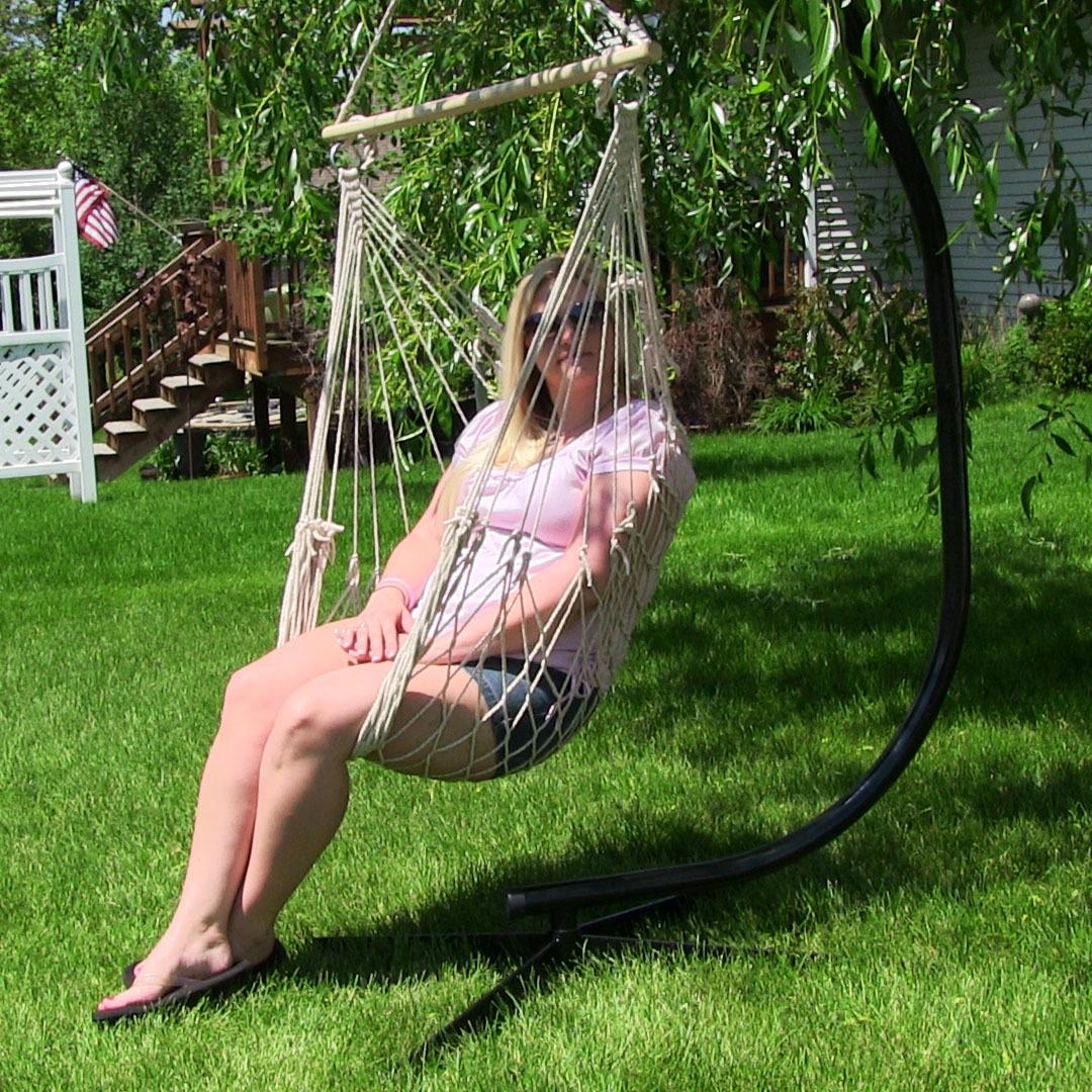 Sunnydaze Cotton Rope Hammock Chair w/Spreader Bar & Stan...