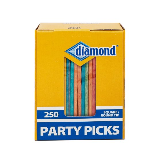 (4 Pack) Diamond Square/Round Tip Party Toothpicks, 250ct