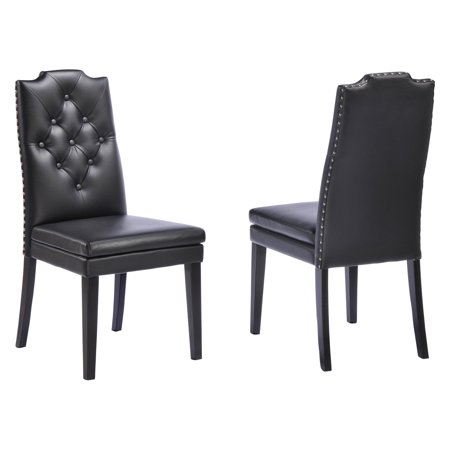 Baxton Studio Dylin Modern and Contemporary Black Faux Leather Button-Tufted Nailhead Trim Dining Chairs, Set of 2