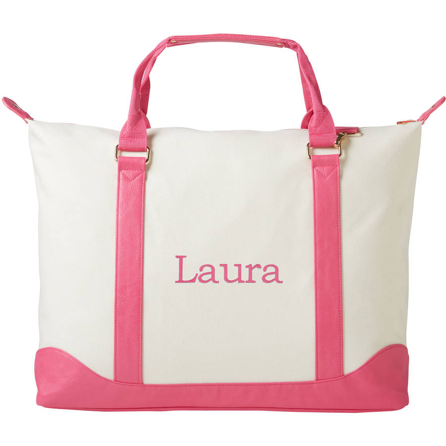 Personalized Or Monogram Canvas Weekender Tote, Available In Different Font's