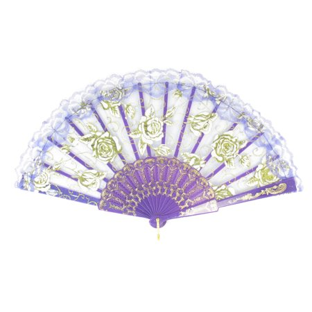 Unique Bargains Rose Print Scalloped Lace Edge Purple White Plastic Chinese Foldable Hand Fan