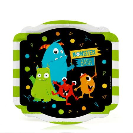 Monster Bash - Little Monster Birthday Party or Baby Shower Dessert Plates (16 Count) - Monster Themed Birthday