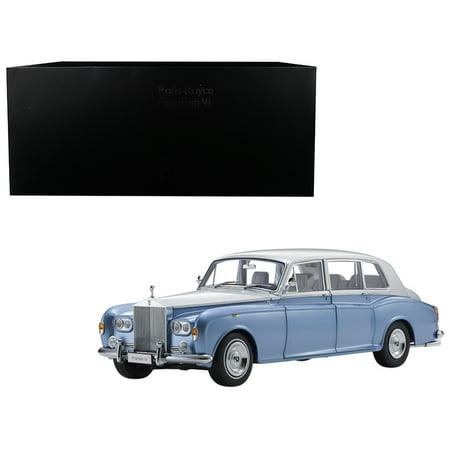 Rolls Royce Phantom Drop (Rolls Royce Phantom VI Light Blue with Silver Top 1/18 Diecast Model Car by Kyosho )