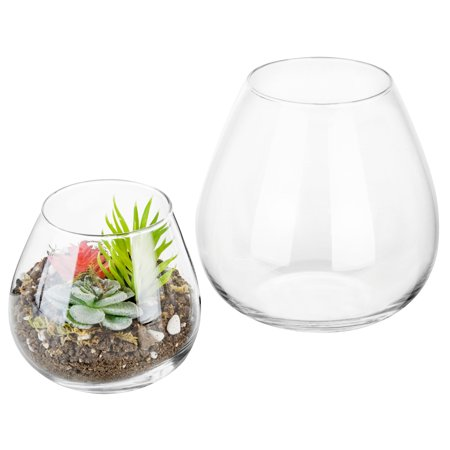 Modern Glass Vases (Set of 2 Decorative Modern Round Clear Glass Display Vases / Bowl Candleholders / Air Plant Terrariums)