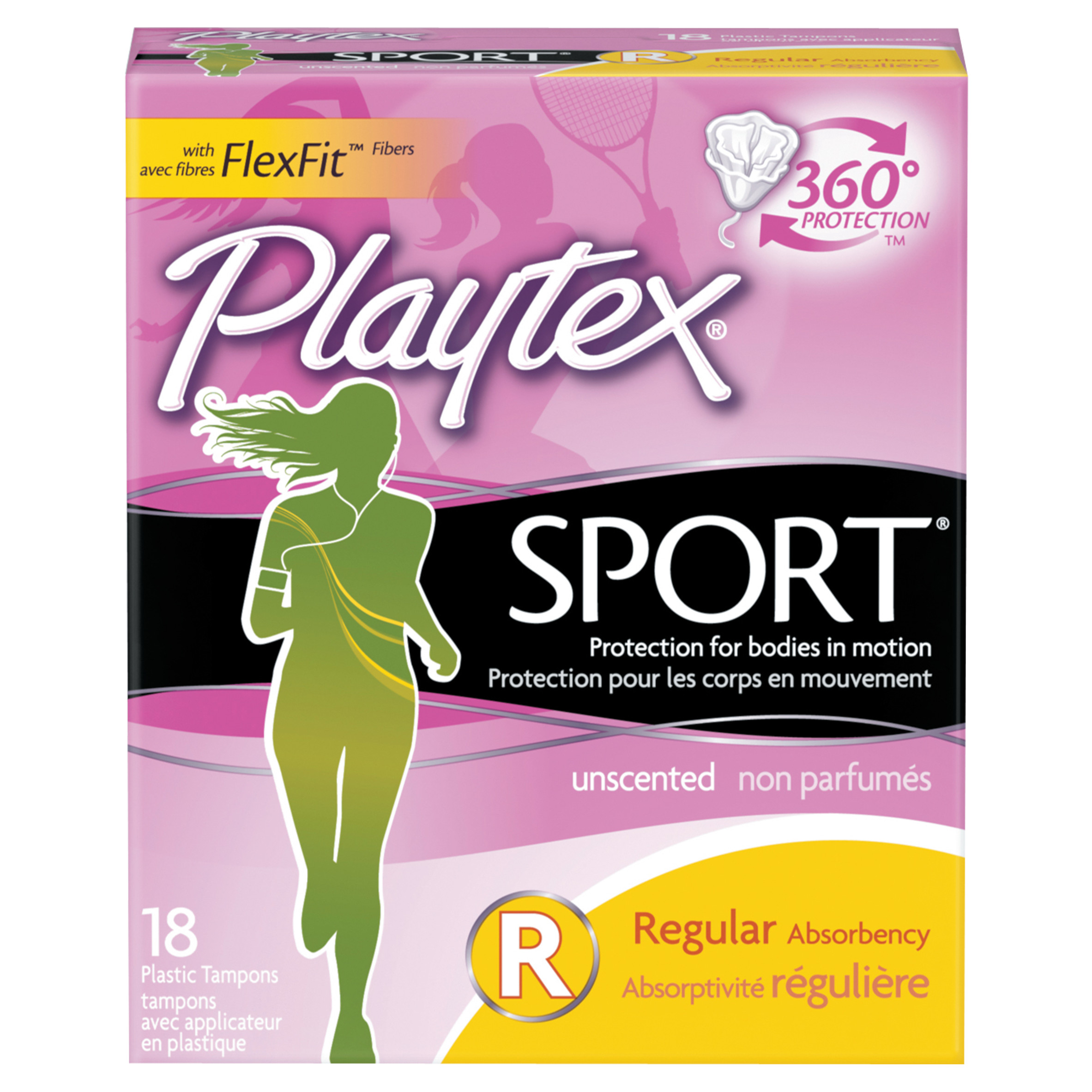 Playtex Sport Tampons Unscented Regular Absorbency - 18 Count