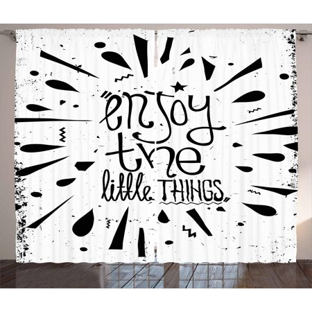 Enjoy the Little Things Curtains 2 Panels Set, Vintage Style Motivation Boosting Quote with Teardrop Pattern, Window Drapes for Living Room Bedroom, 108W X 84L Inches, Black and White, by Ambesonne