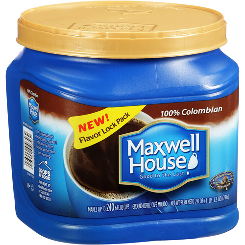Maxwell House 100% Colombian Medium Dark Ground Coffee, 28 oz