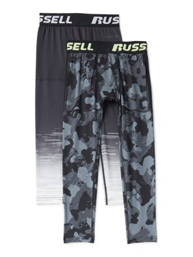 Russell Boys 4-18 Base Layer Compression Pants, 2-Pack