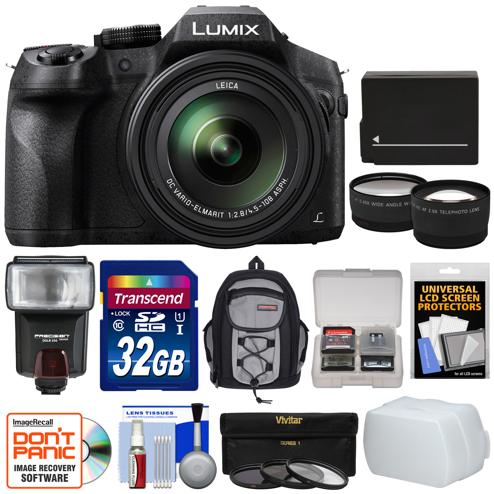 Panasonic Lumix DMC-FZ300 4K Wi-Fi Digital Camera with 32GB Card + Battery + Backpack + Flash + Filters + Tele/Widee Lens Kit