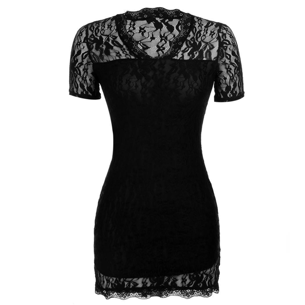 Women's Sexy V Neck Short Sleeve Lace Bodycon Party Mini Dress Caroj - image 3 of 3