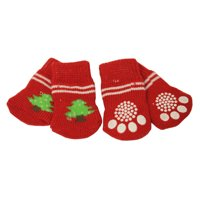 4pcs Christmas Theme Anti-Slip Dog Red Socks for Clean&Comfy Paws Pet Puppy Cat