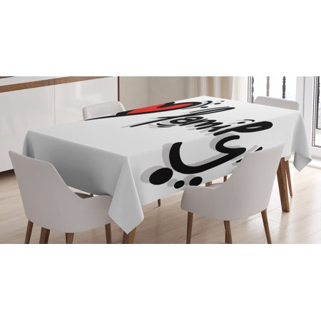 Family Tablecloth, I Heart Family Stylized Writing Pictogram Style Artwork Decorated with Dots, Rectangular Table Cover for Dining Room Kitchen, 52 X 70 Inches, Black Red White, by - Red And Black Table Decorating Ideas