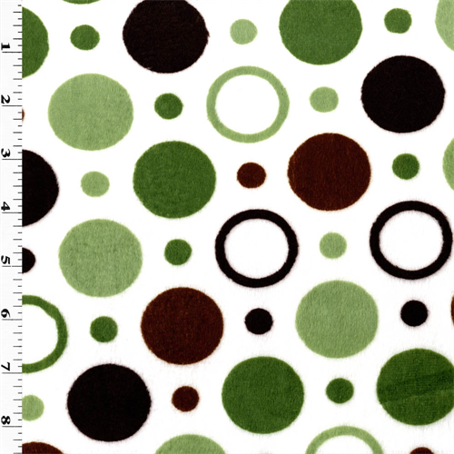 White/Green/Brown Dot Minky, Fabric By the Yard