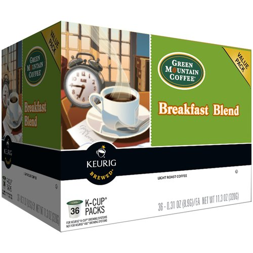 Keurig Green Mountain Coffee Breakfast Blend Coffee K-Cups, 0.31 oz, 36 ct