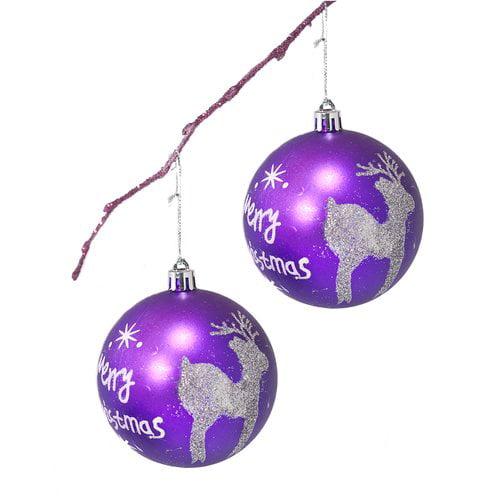 Perfect Holiday 3 14 Shatterproof Handpainted Merry Chrismas And Deer Ball Ornament Walmart Com Walmart Com
