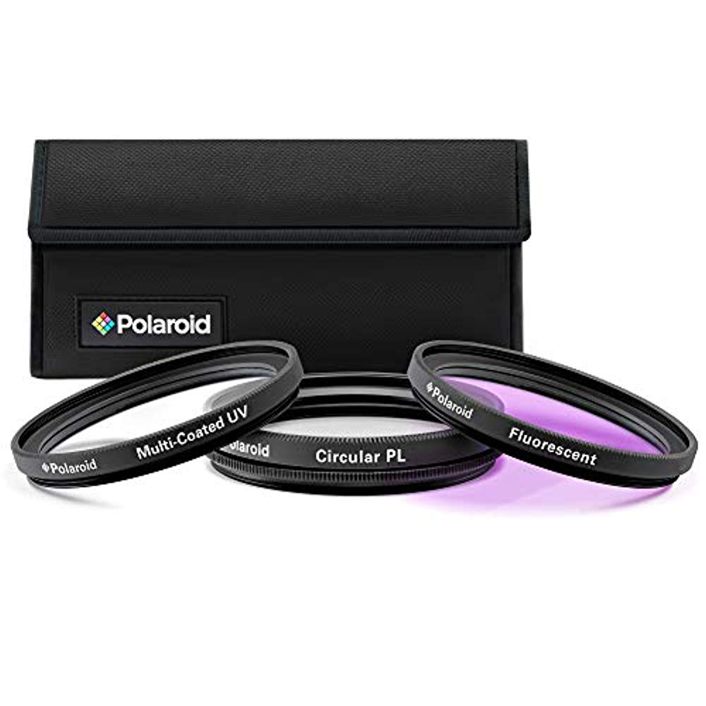 Polaroid Optics 49mm 3-Piece Filter Kit Set [UV,CPL,FLD] includes Nylon Carry Case – Compatible w/ All Popular Camera Lens Models