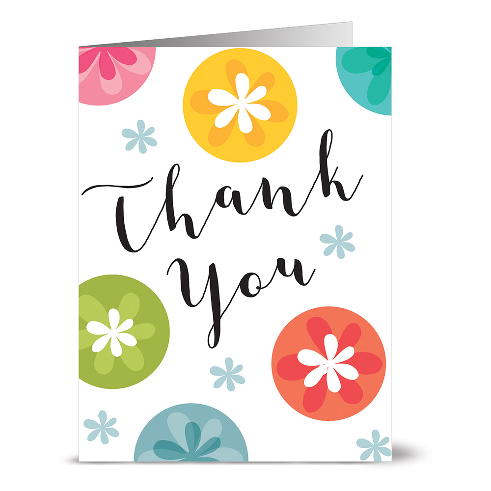 24 Thank You Note Cards - Thank You with Floral Dots Veritcal - Blank Cards - Yellow Envelopes Included