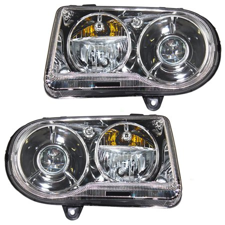 Driver And Penger Halogen Headlights Headlamps Replacement For 2005 2010 Chrysler 300 W Projector Delay Option 57010863aa 57010862aa