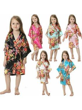 Baby clothes pajamas kids girls Satin Silk Bathrobe Sleepwear Floral Bath Robe