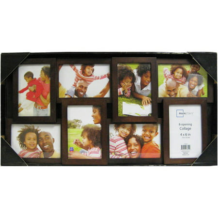 Mainstays 8-Opening 4x6 Collage Picture Frame, Walnut - Walmart.com