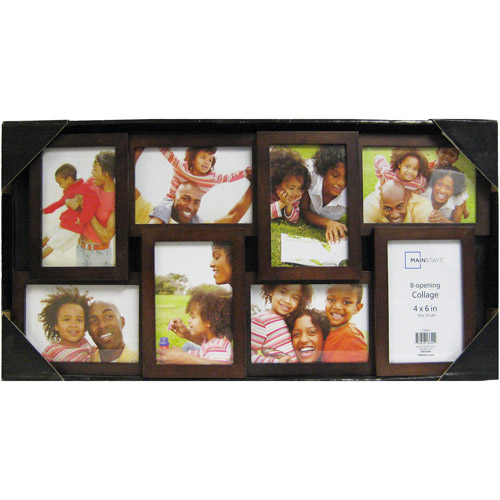 Mainstays 8-Opening 4x6 Collage Picture Frame, Walnut