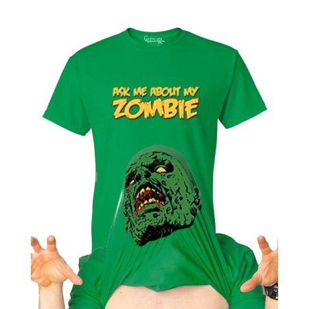 Funny Poem About Halloween (Ask Me About my Zombie Disguise Funny Halloween Youth Flip-Up T-Shirt Green)