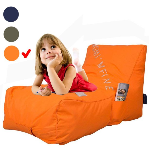 KARMAS PRODUCT Chaise Lounge Chair Self Expanding Sponge Bean Bag Home Furniture Lazy Relax Comfort Bed Sofa for Adults Kids, Orange