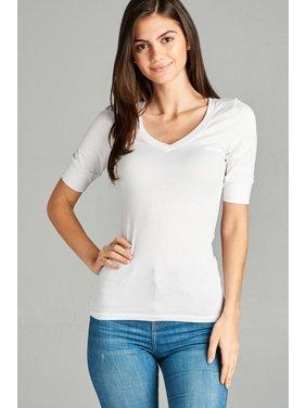 9ebf6d49dd5 Product Image Women s Basic Elbow Sleeve V-Neck Short Sleeve T-Shirt  Stretchy Top Half Sleeve