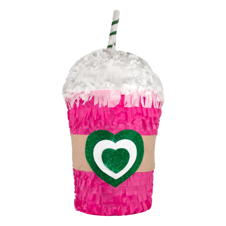 Latte Pinata with Straw, Pink, 11in x - Taco Pinata