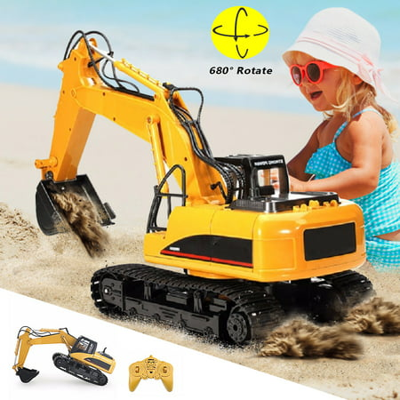 Excavator Tractor Toy (Remote Control Tractor Metal Excavator Construction Toy with Transmitter, Charging Tractor Vehicle Digger Trucks Car Toy with Rechargeable Battery Pack for Boy and Girl 15-Channel)
