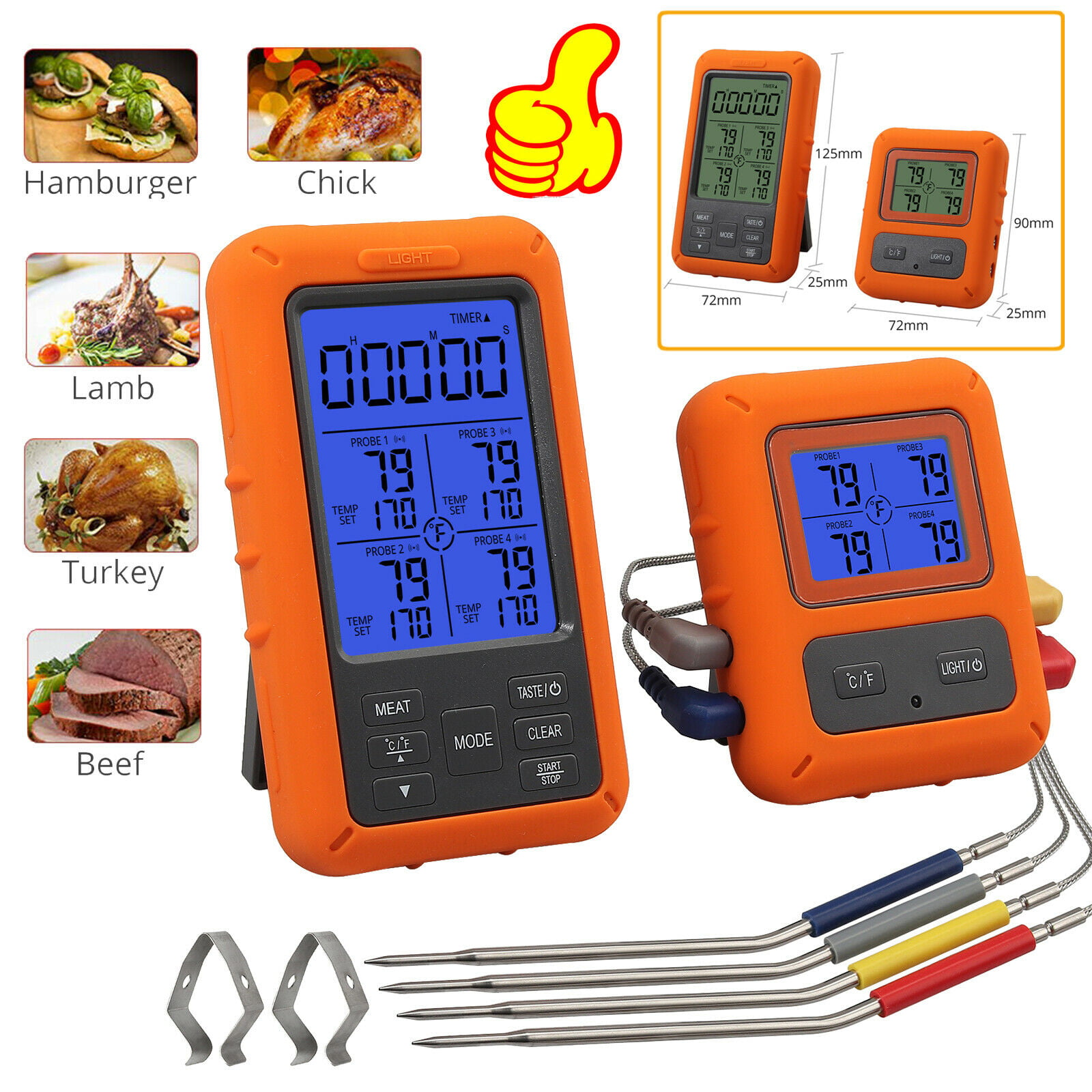 Wireless Meat Thermometer, Digital Remote Meat Thermometer ...