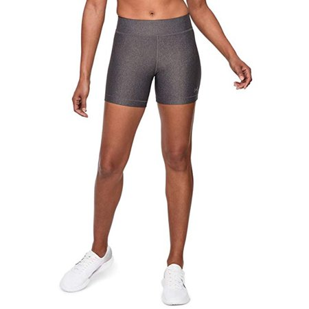 Under Armour Women's HeatGear Shorts, Charcoal Light Heath/Metallic Silver, M