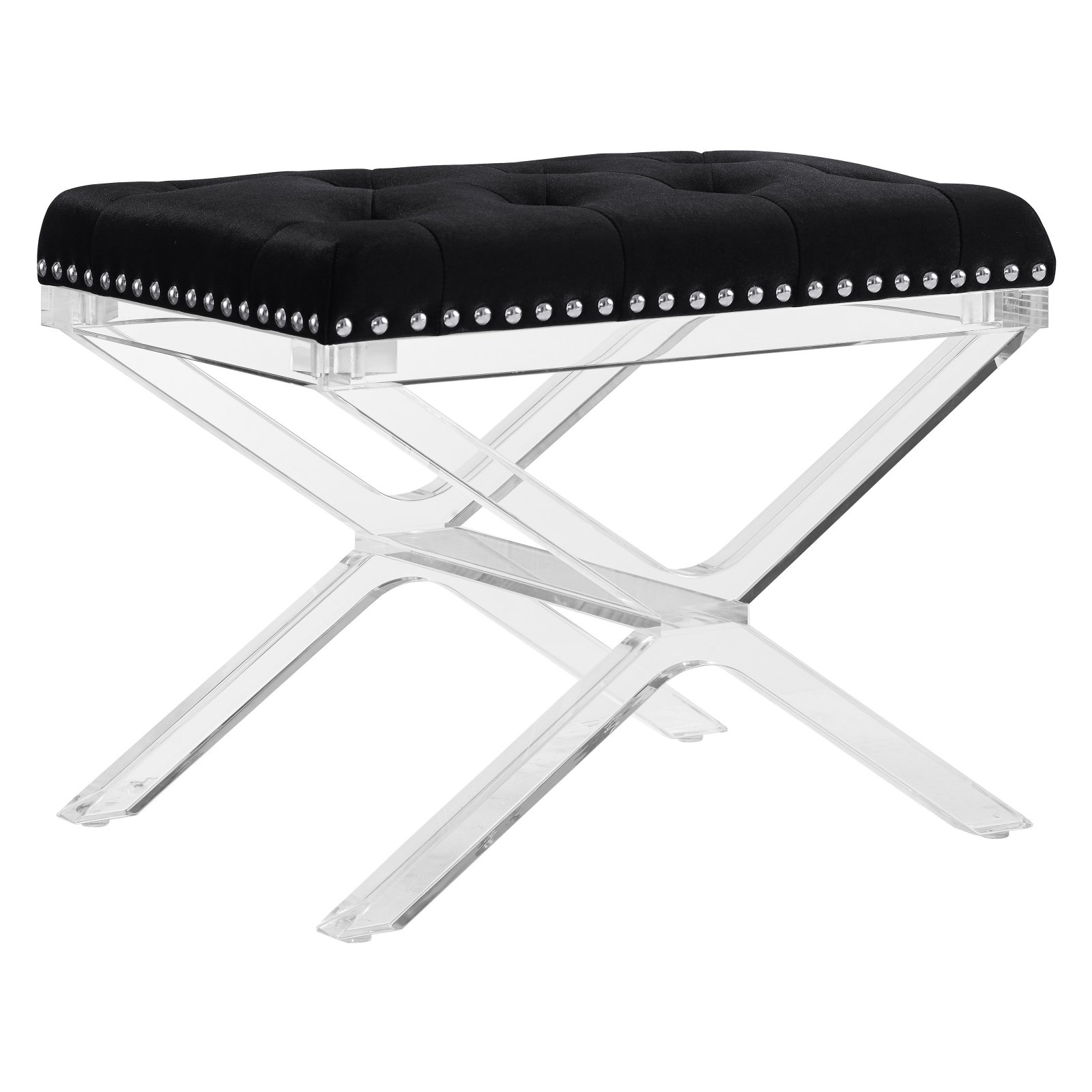 Kelsi X Base Black Vanity Bench with Acrylic Legs by Linon Home Dᅢᄅcor Products, Inc.