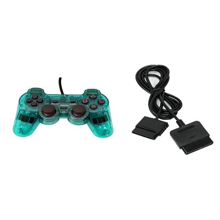 Teal Replacement - PS2 PlayStation 2 Wired Replacement Controller And Extension Cord Transparent Teal Green By Mars Devices