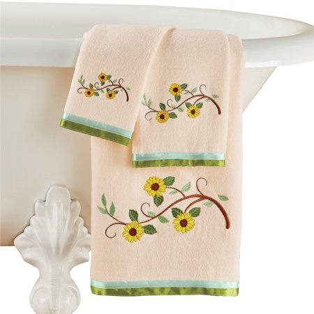 Embroidered Leaf Blooming Sunflowers Towels Set Of 3 Cream Bottom Green Ribbon Trim Bath Towel Hand Towel Washcloth Included Machine Washable Cotton Walmart Com Walmart Com