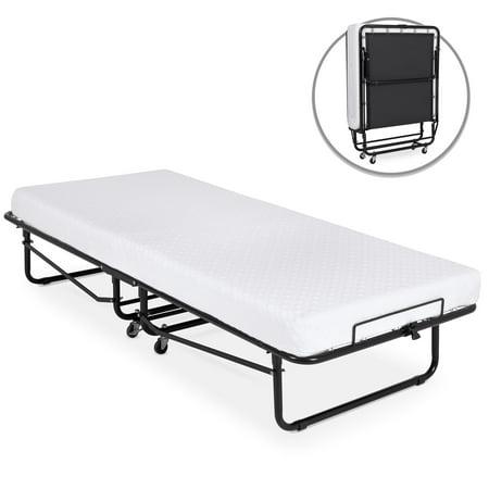 Best Choice Products Folding Rollaway Cot-Sized Mattress Guest Bed w/ 3in Memory Foam, Locking Wheels. Steel Frame,