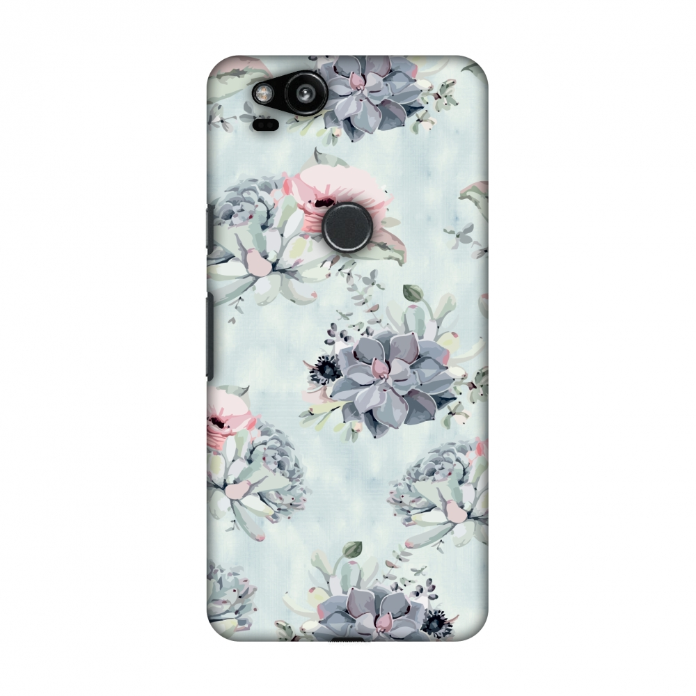 Google Pixel 2 Case - Watercolour flowers- Blue and pink, Hard Plastic Back Cover, Slim Profile Cute Printed Designer Snap on Case with Screen Cleaning Kit