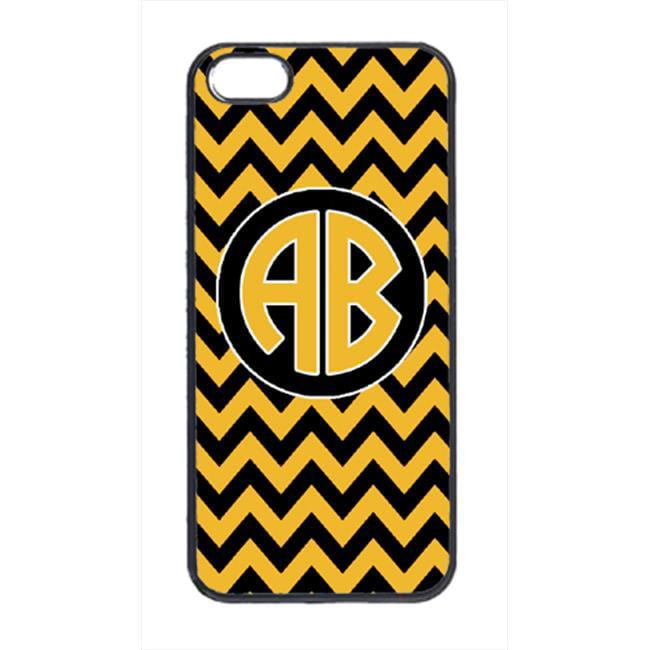 Carolines Treasures CJ1053-CUSTOM-IP5 3 x 5 in. Chevron Black and Gold University of Missouri Design Cell Phone Cover for iPhone 5