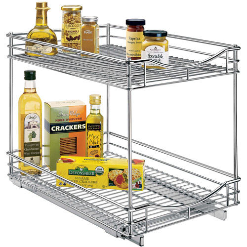 "Lynk Professional Slide Out Double Shelf, Pull Out Two Tier Sliding Under Cabinet Organizer, 14""W x 21""D, Chrome"