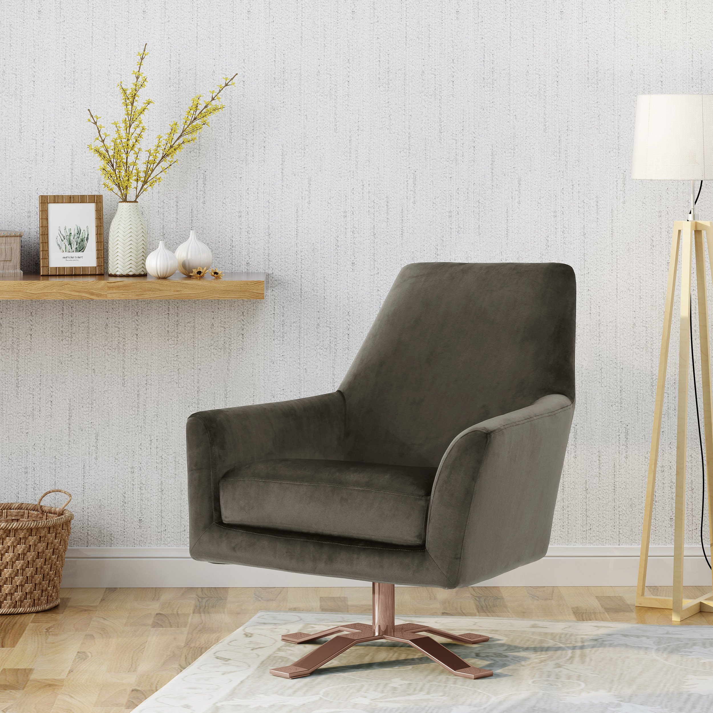 Noble House Austin Modern Velvet Swivel Club Chair with Finished Steel Base,Gold ,Grey