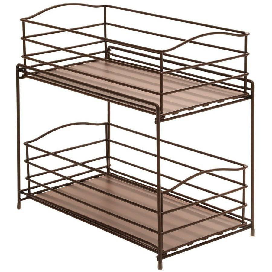 Seville Classics 2 Tier Sliding Basket Kitchen Cabinet Organizer Bronze Walmart Com