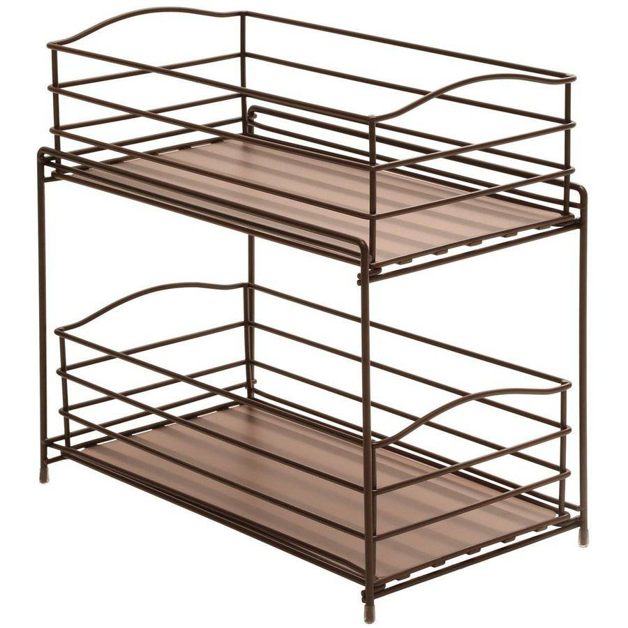Seville Classics 2 Tier Sliding Basket Kitchen Cabinet Organizer, Bronze