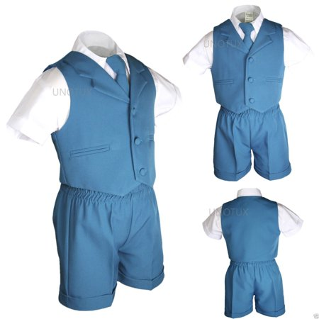 Boys Baby Toddler Formal Wedding Teal Turquoise Aqua Vest Sets Shorts Suits S-4T - image 6 of 6