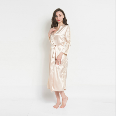 Magshion Women Lace Trim Kimono Pajamas Satin Sleeve Long Wrap Robe Cover Sleep Wear Dress Champagne