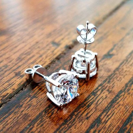 ON SALE - Opulence 14K White Gold Round IOBI Simulated Diamond Solitaire Stud Earrings Solid 14K White Gold / 2 Carat 14k Two Tone Solitaire Mounting