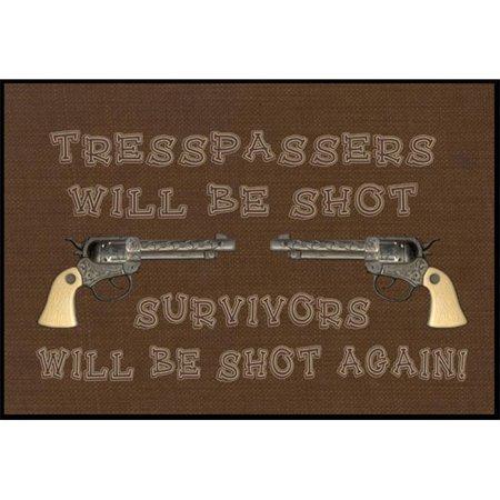 Carolines Treasures SB3063JMAT Tresspassers will be shot Indoor or Outdoor Mat - image 1 de 1