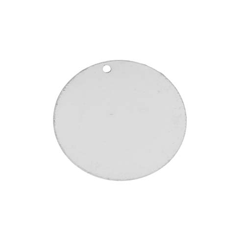 Sterling Silver Round Blank Disk Tag Pendant 26mm (1)
