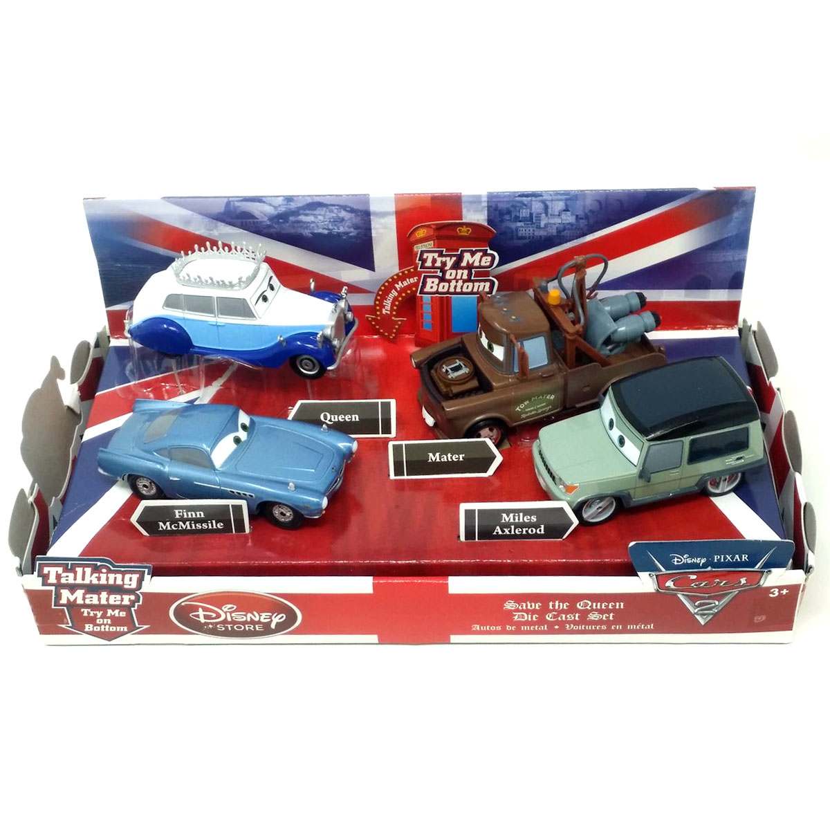 Disney Store Cars 2 Save The Queen Die Cast Set with Talking Mater and Finn McMissile, (OPEN BOX)