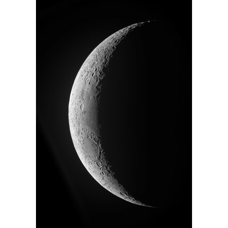 A waxing crescent moon in high resolution Poster Print (23 x 34)