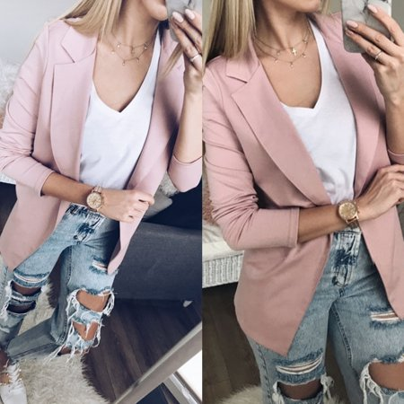Women's Casual Suit Business OL Ladies Blazer Long Sleeve Jacket Outwear Coat Pink Size S Black Stretch Blazer Jacket